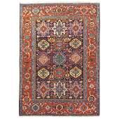 Colorful antique Persian Heriz Karadja rug with an all