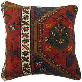 Pillow made from a antique Persian Heriz rug.