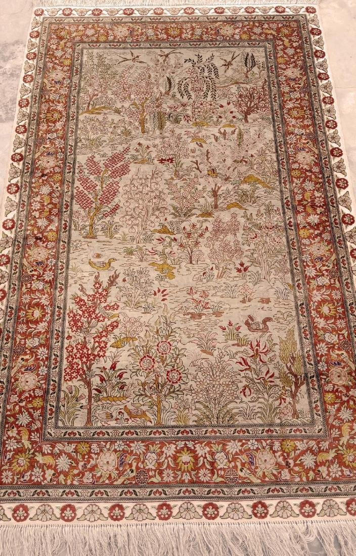 Antique Hereke Turkish Silk Carpet - 2