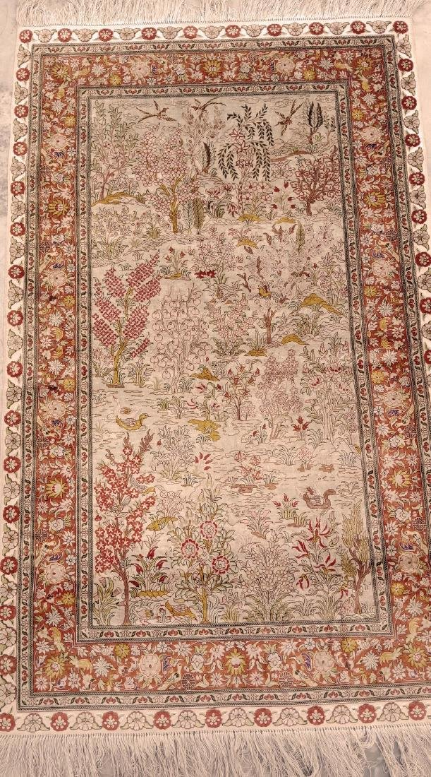 Antique Hereke Turkish Silk Carpet - 3