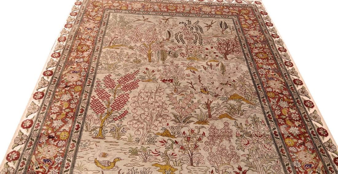 Antique Hereke Turkish Silk Carpet - 5