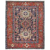 Rare size colorful antique Persian Heriz Karadja rug.