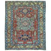One of a kind throw square size antique Persian Heriz