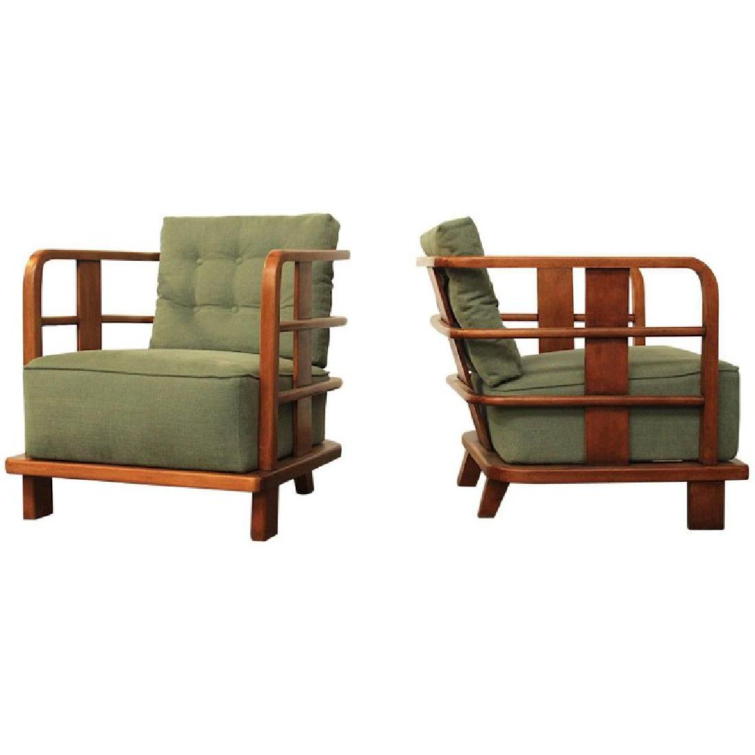 Pair of Lounge Easy Chairs, Attributed to Jean Royere,