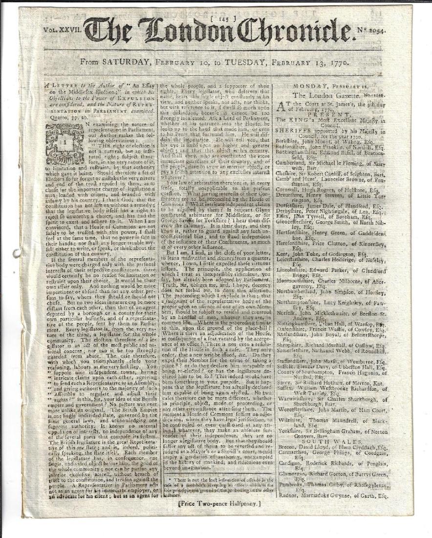 1770 London Chronicle Political Content