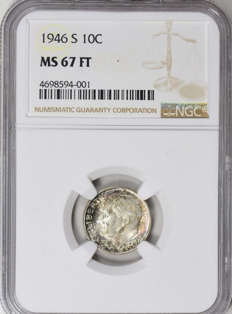 1946-S Roosevelt Dime NGC MS-67 FT (Toned)