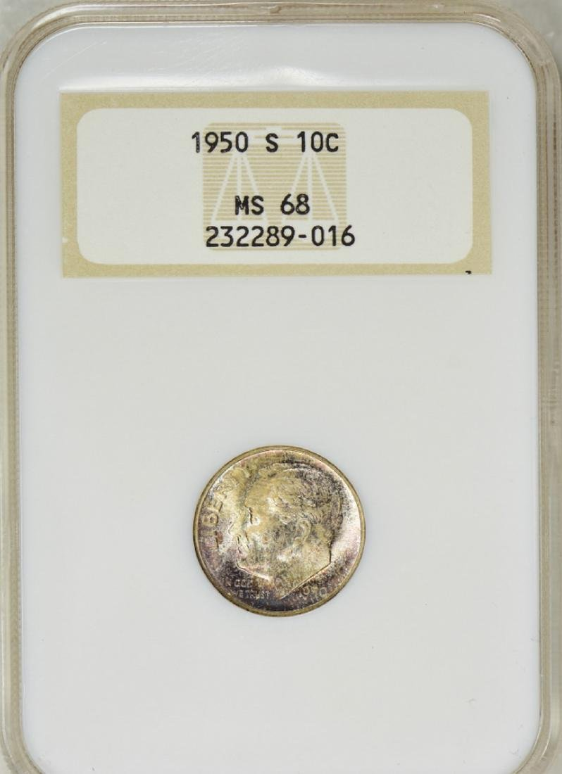 1950-S Roosevelt Dime NGC MS-68 OH