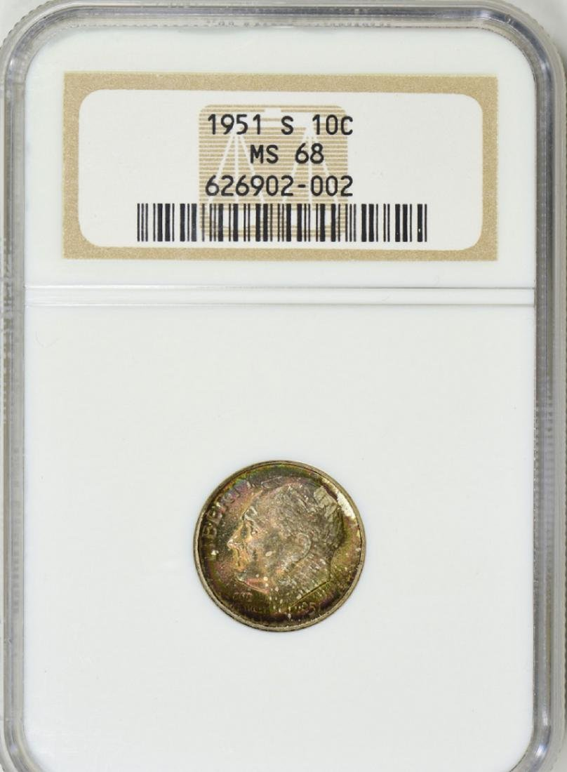 1951-S Roosevelt Dime NGC MS-68 (Toned)