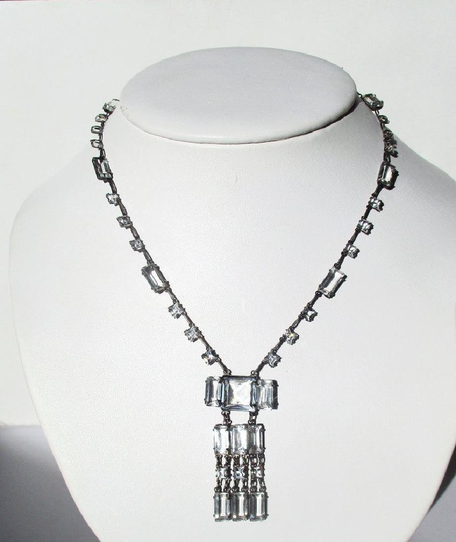 Art-Deco Sterling Silver & Paste Choker/Necklace