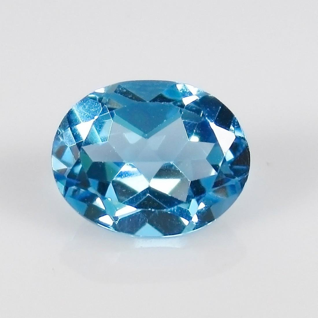 3.20 Ct Genuine Brazil Blue Topaz 10X8 mm Oval Cut
