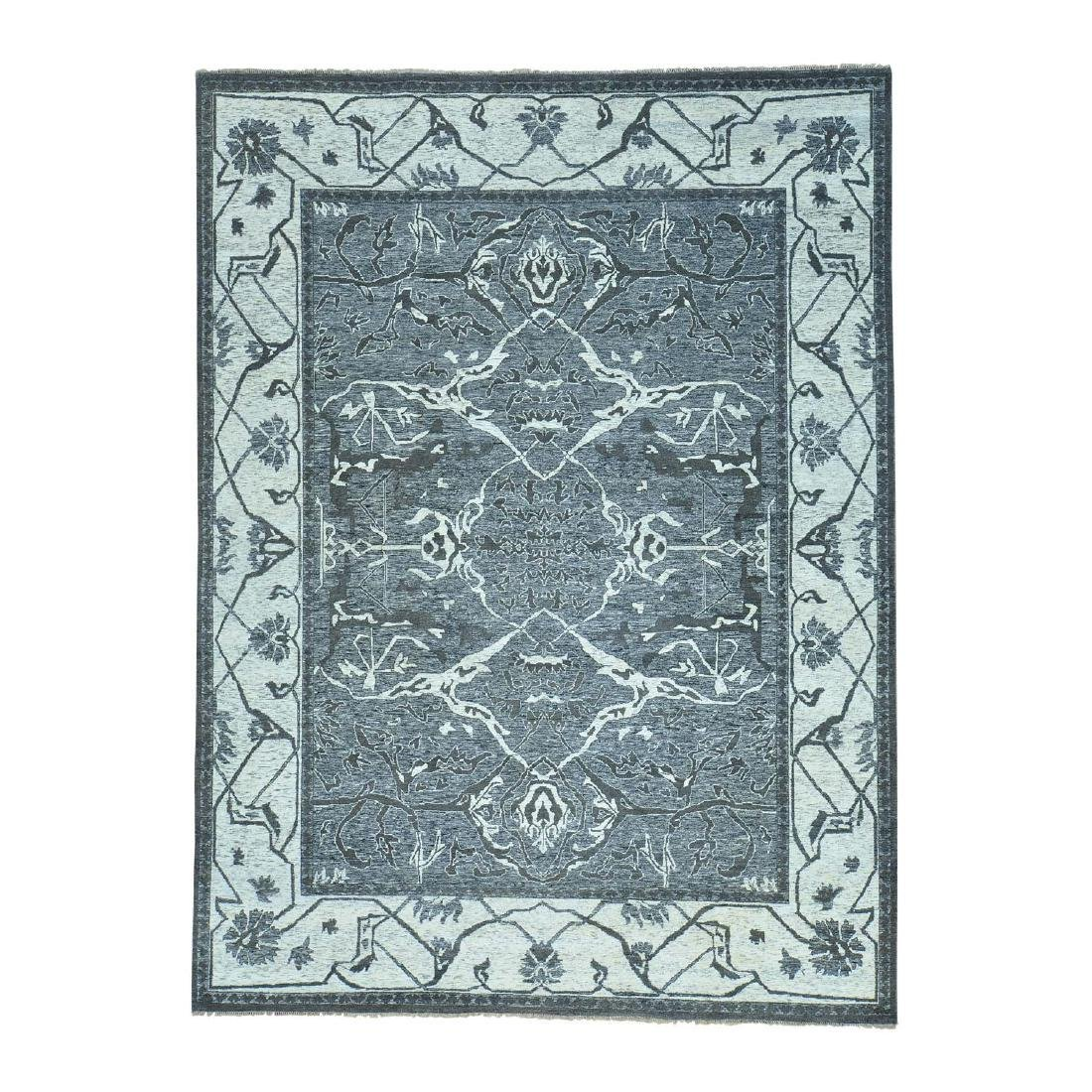 Undyed Natural Wool Hand Knotted Oushak Oriental Rug