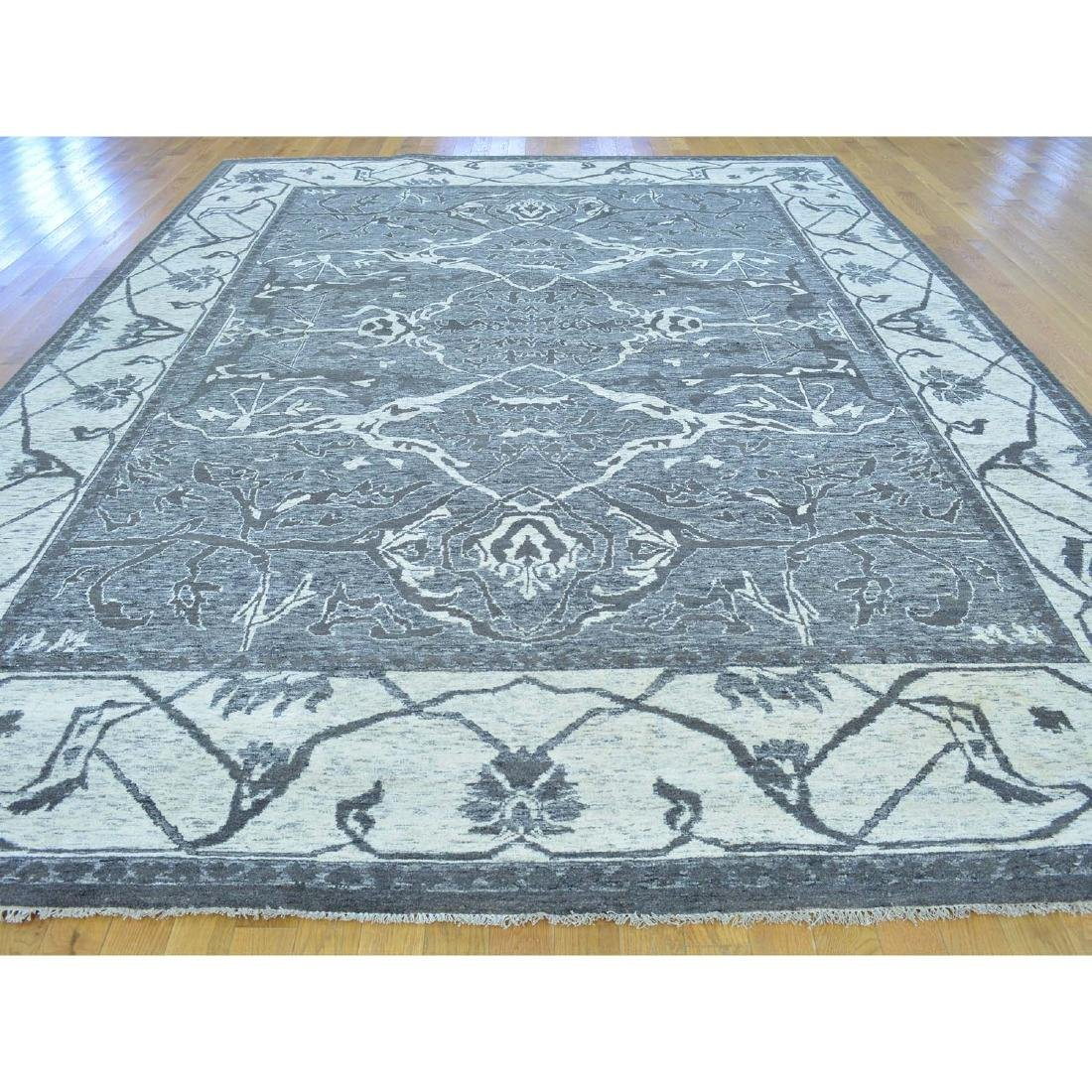 Undyed Natural Wool Hand Knotted Oushak Oriental Rug - 2