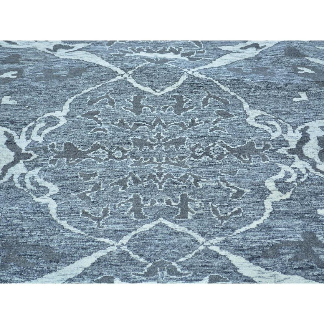 Undyed Natural Wool Hand Knotted Oushak Oriental Rug - 4
