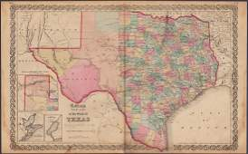 Scarce Colton 1855 map of Texas, Johnson/Browning