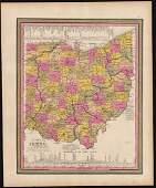 Scarce 1848 Mitchell map of Ohio