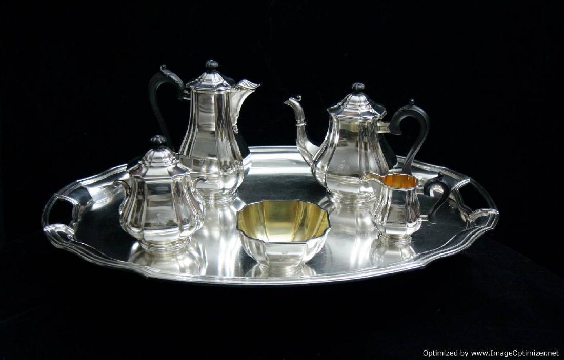 ART DECO 6 pc. FRENCH ANTIQUE STERLING SILVER TEA SET
