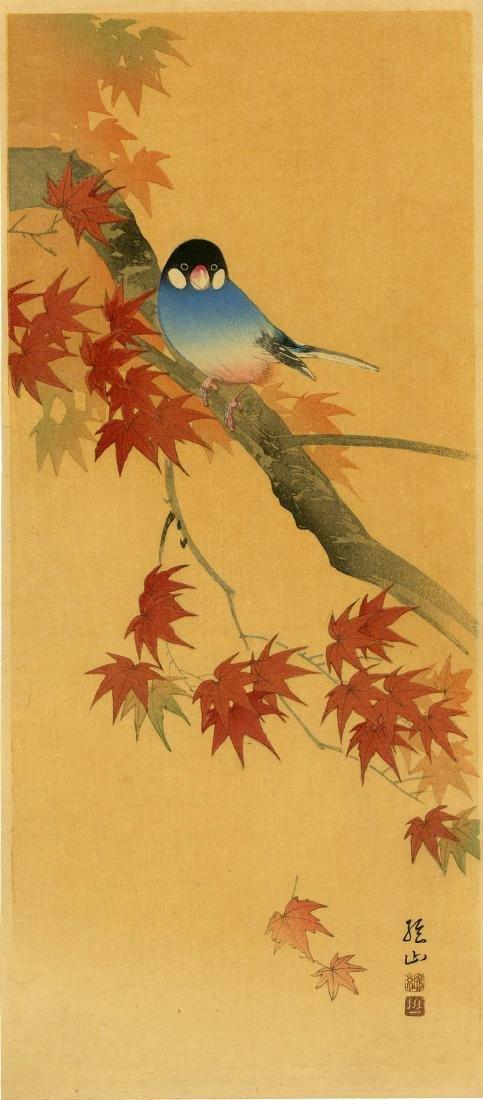 Sozan Ito: Java Sparrow on a Maple 1925 Woodblock