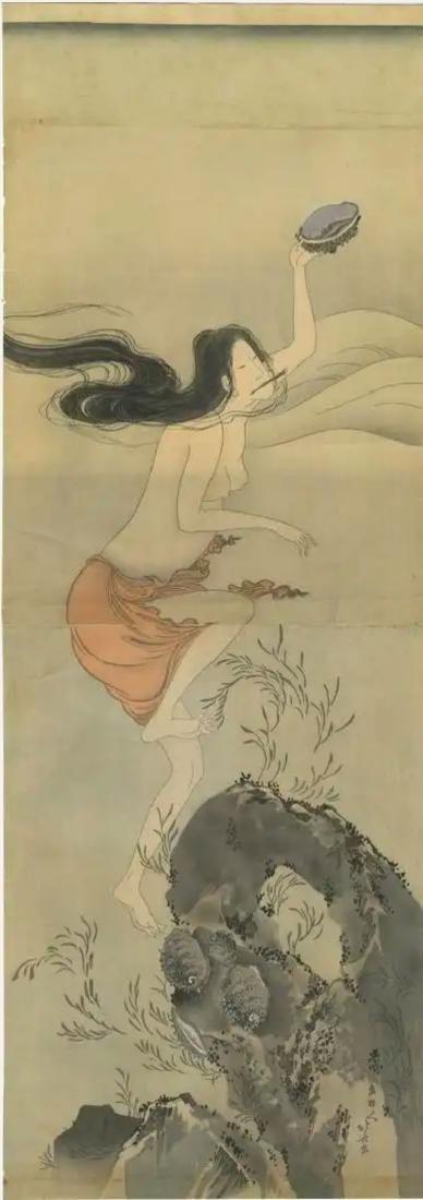 Hokusai Katsushika: Awabi Diver Woodblock Diptych