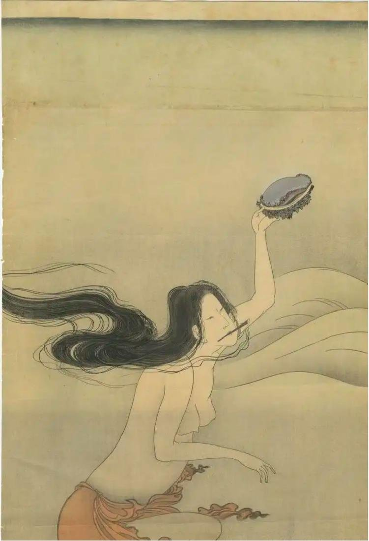 Hokusai Katsushika: Awabi Diver Woodblock Diptych - 2