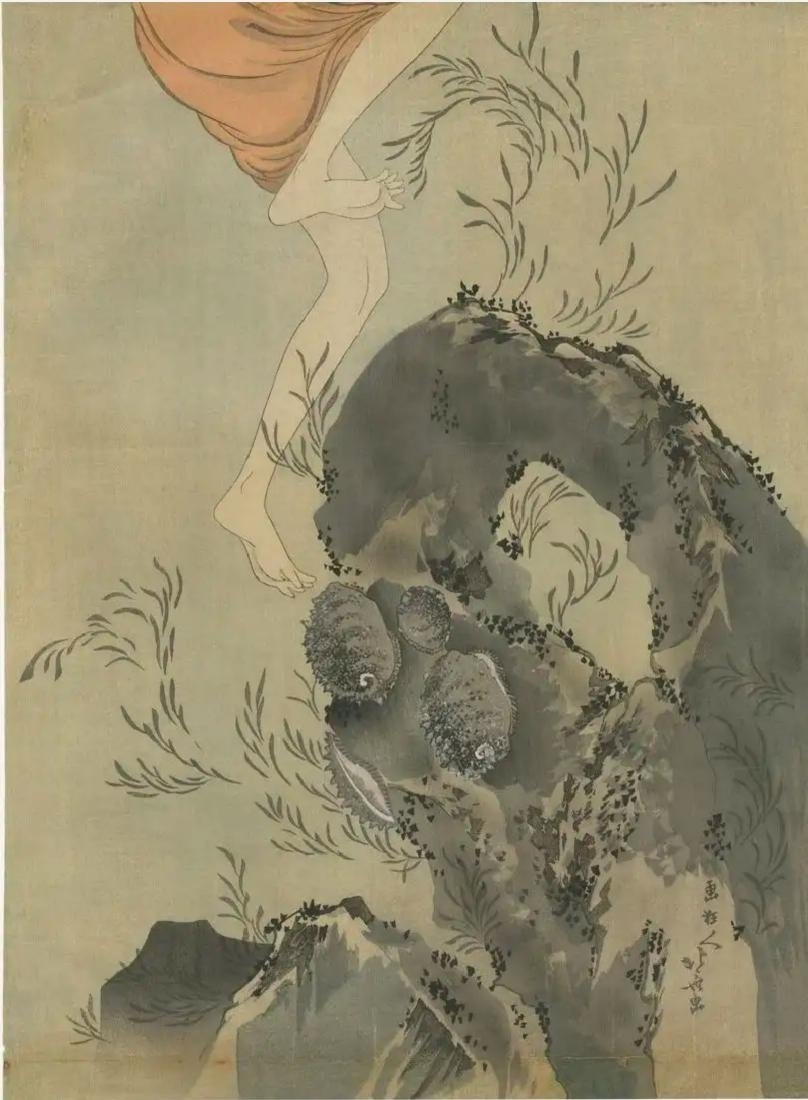 Hokusai Katsushika: Awabi Diver Woodblock Diptych - 3