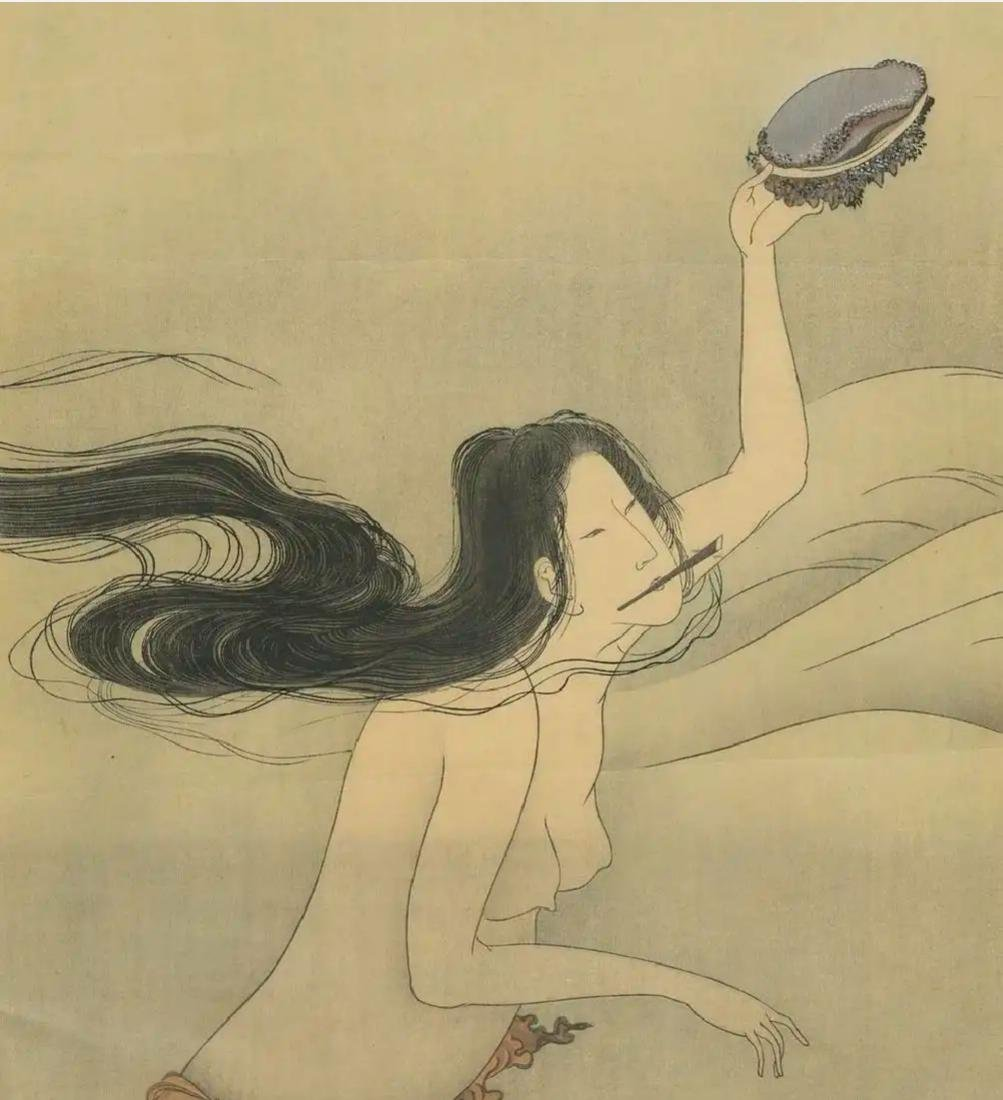 Hokusai Katsushika: Awabi Diver Woodblock Diptych - 4