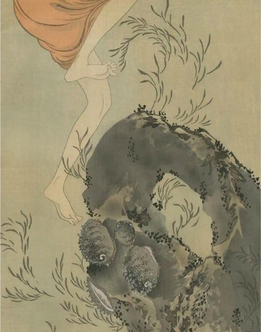Hokusai Katsushika: Awabi Diver Woodblock Diptych - 5