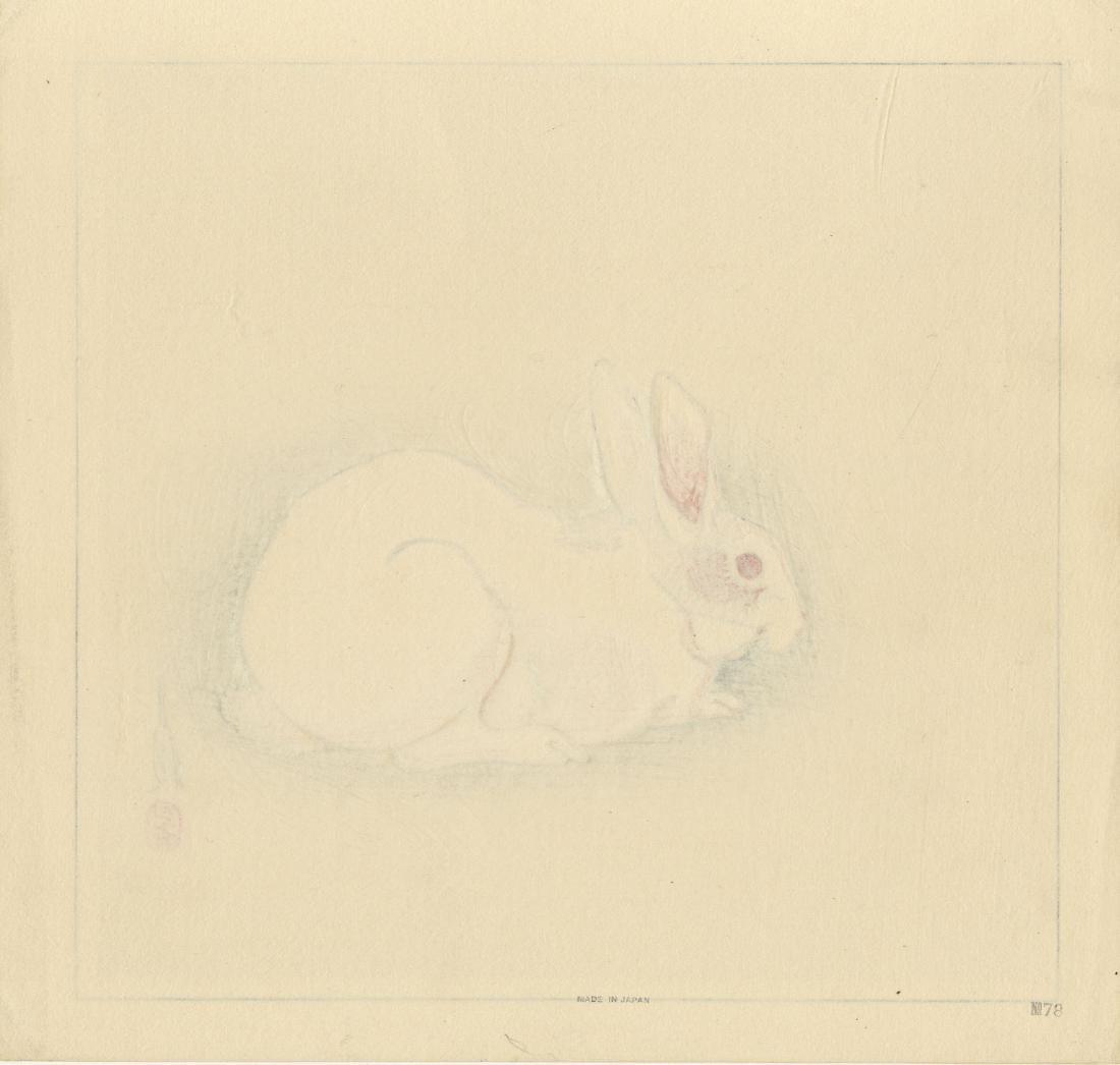 Gekko Ogata: Rabbit 1930 Woodblock - 2