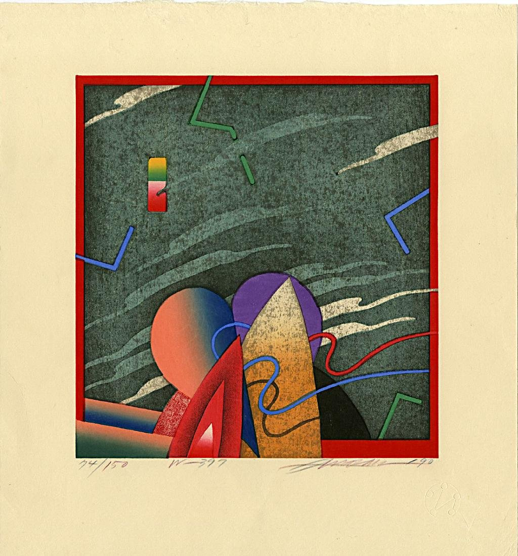 Akira Kurosaki: W-397 Abstract 1990 Woodblock