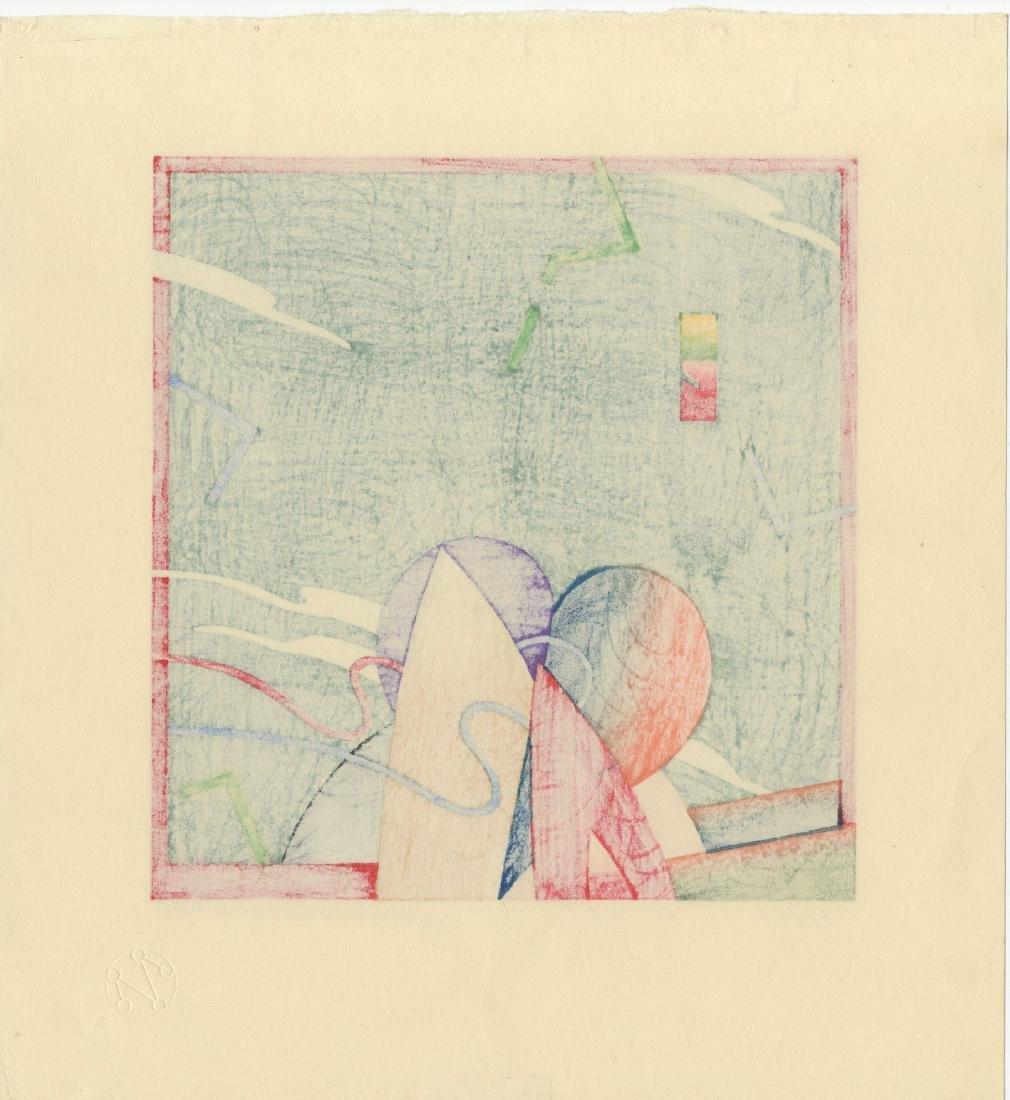 Akira Kurosaki: W-397 Abstract 1990 Woodblock - 2