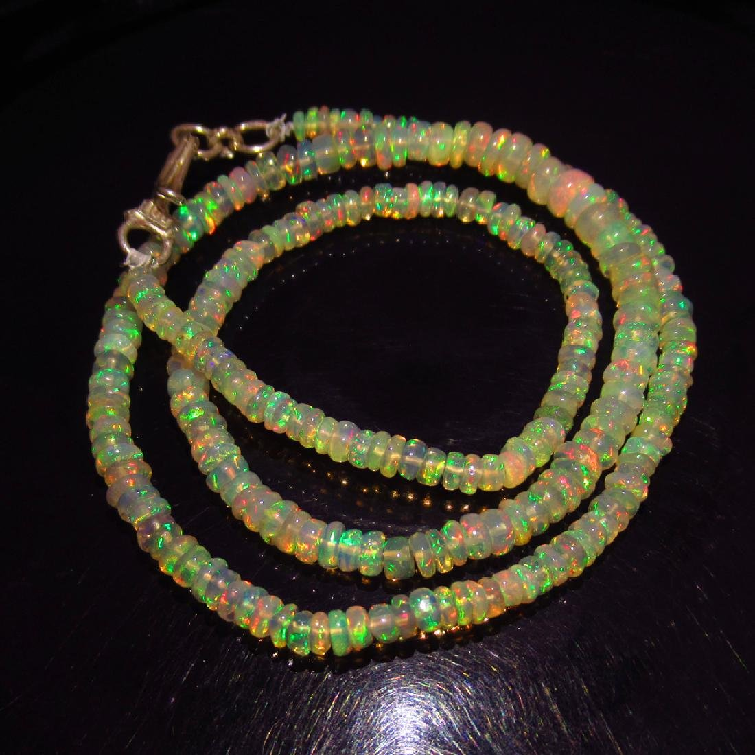 39.75 Ct Genuine 245 Ethiopian Opal Beads Pure Silver