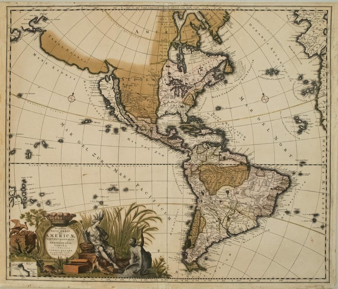1700 Allard Map of the Americas with California as an