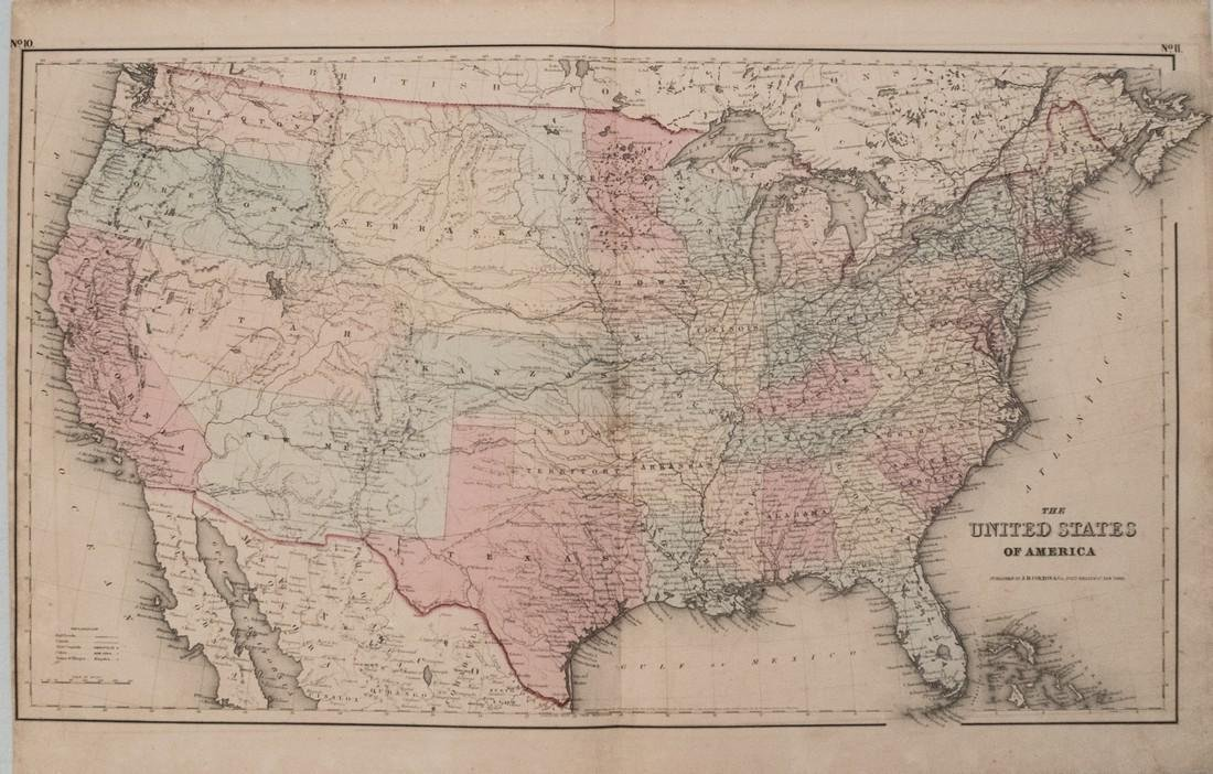 1855 Colton Map of the United States -- The United