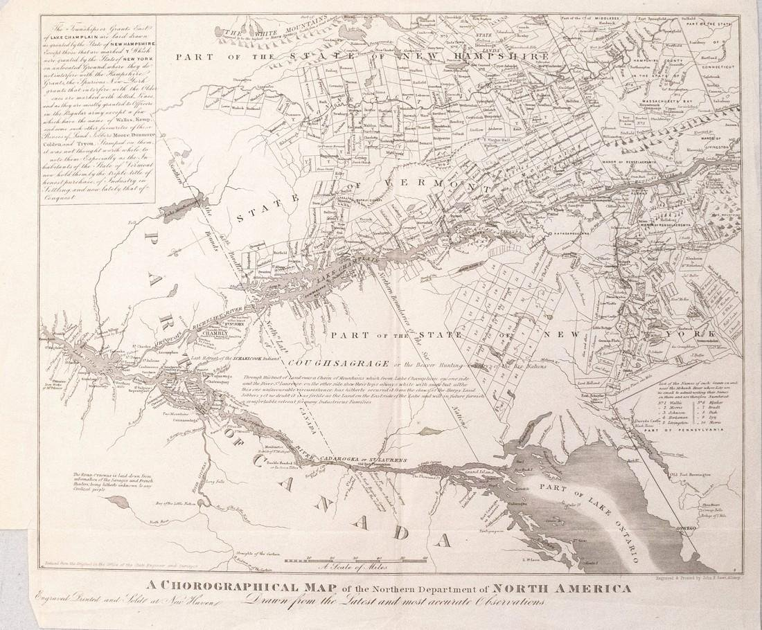 1851 Gavit / Romans Map First Showing Vermont, and also