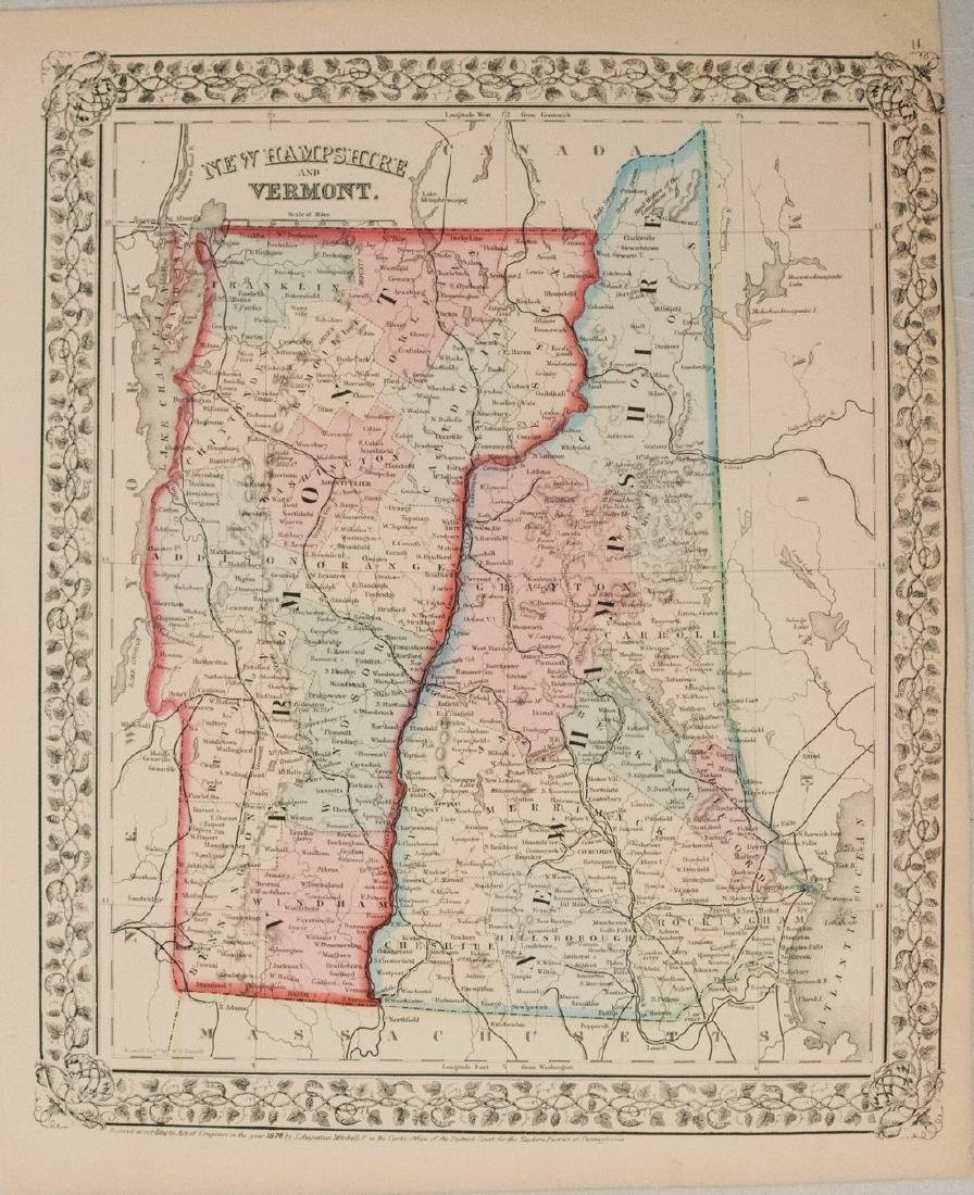 1870 Mitchell Map of New Hampshire and Vermont -- New