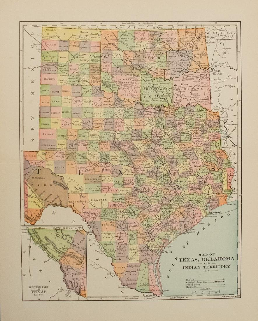 Poates Map of Texas, Oklahoma and Indian Terr. -- Map