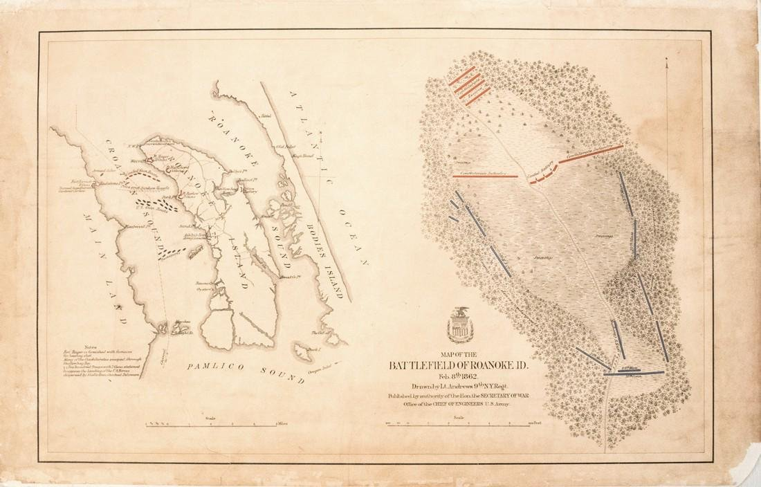 1870 US Army Map of Roanoke Island Battlefield -- Map