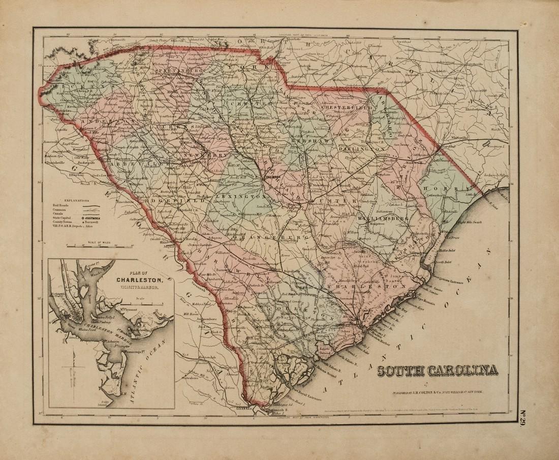 1855 Colton Map of South Carolina -- South Carolina