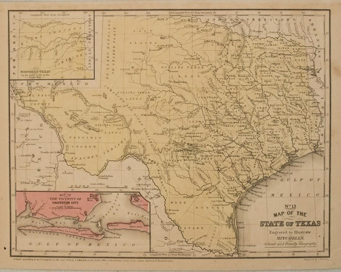 1852 Mitchell Map of Texas -- No. 13 Map of the State