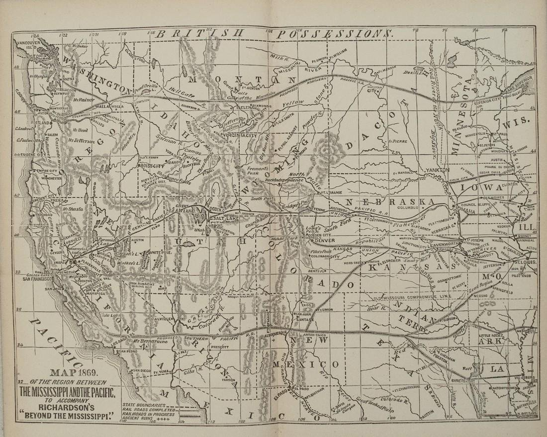 1869 Richardson Map of the Western US -- Map 1869 of