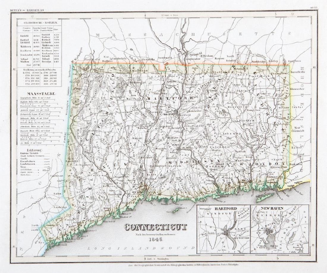 Meyer: Connecticut, 1850s / Hartford & New Haven Insets