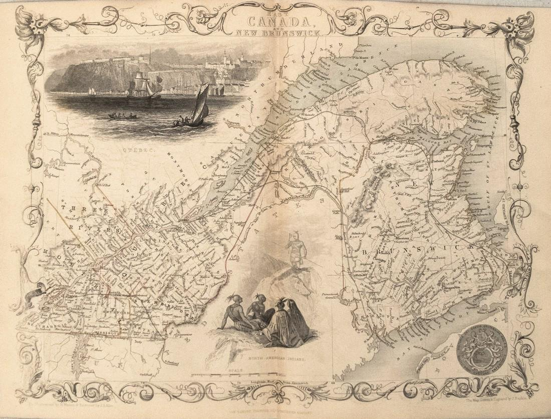 1850 Tallis Map of Quebec and New Brunswick -- East