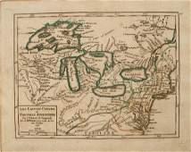 1749 Robert de Vaugondy Map of Great Lakes Region