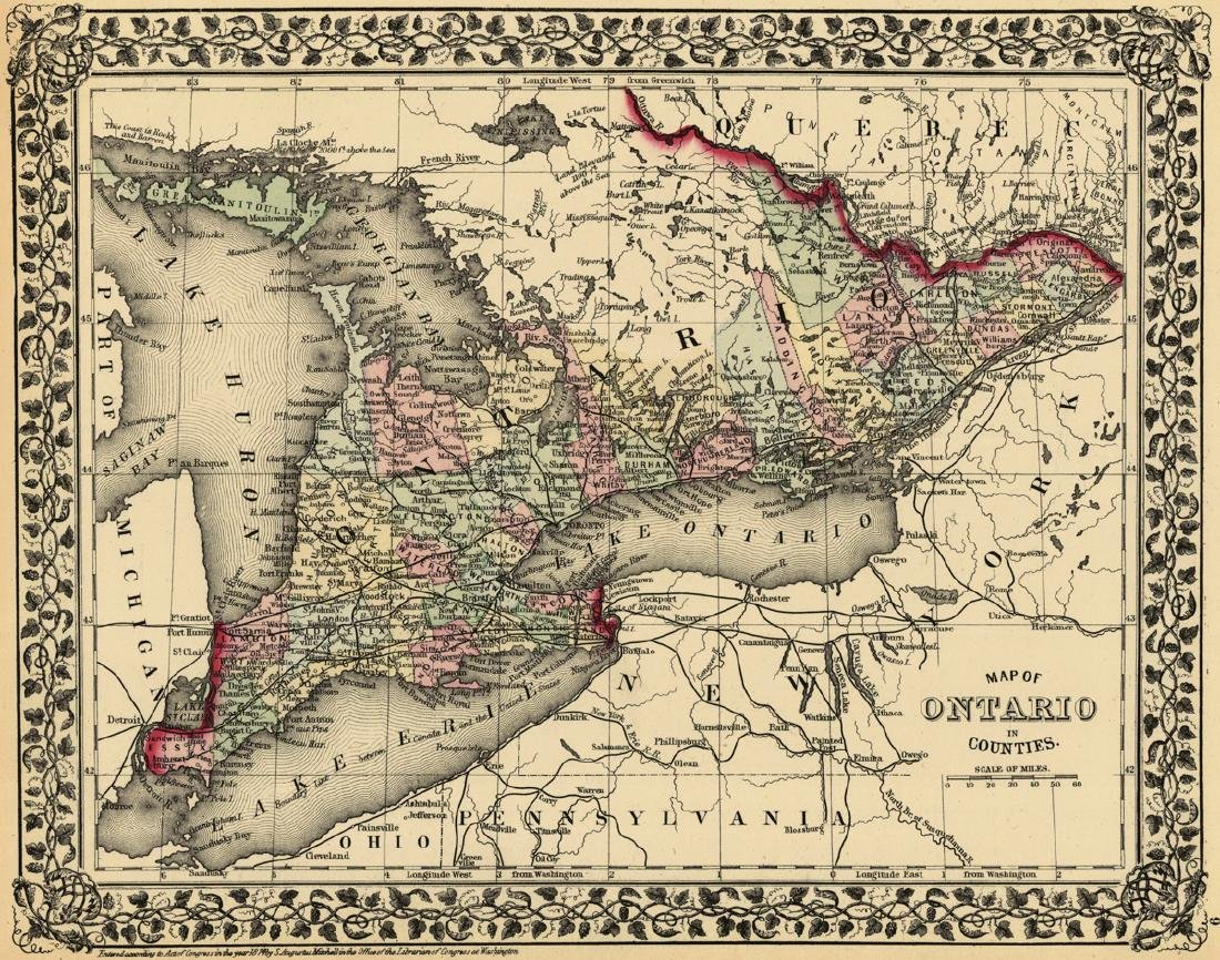 Map of Ontario in Counties.