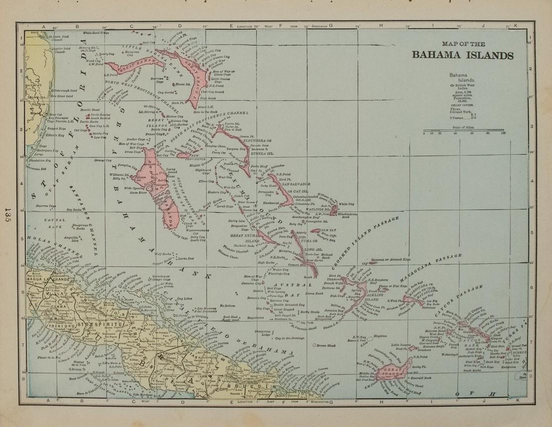 1898 Cram map of the Bahamas [verso] Haiti, Dominican