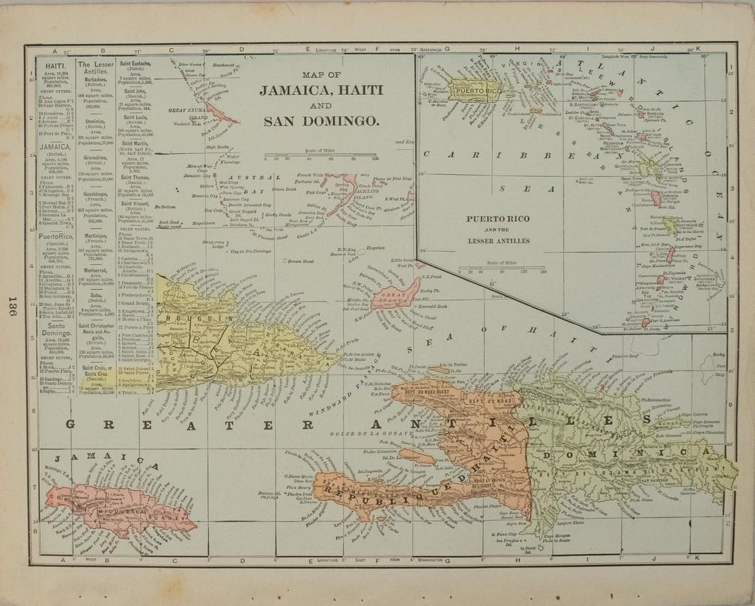1898 Cram map of the Bahamas [verso] Haiti, Dominican - 2