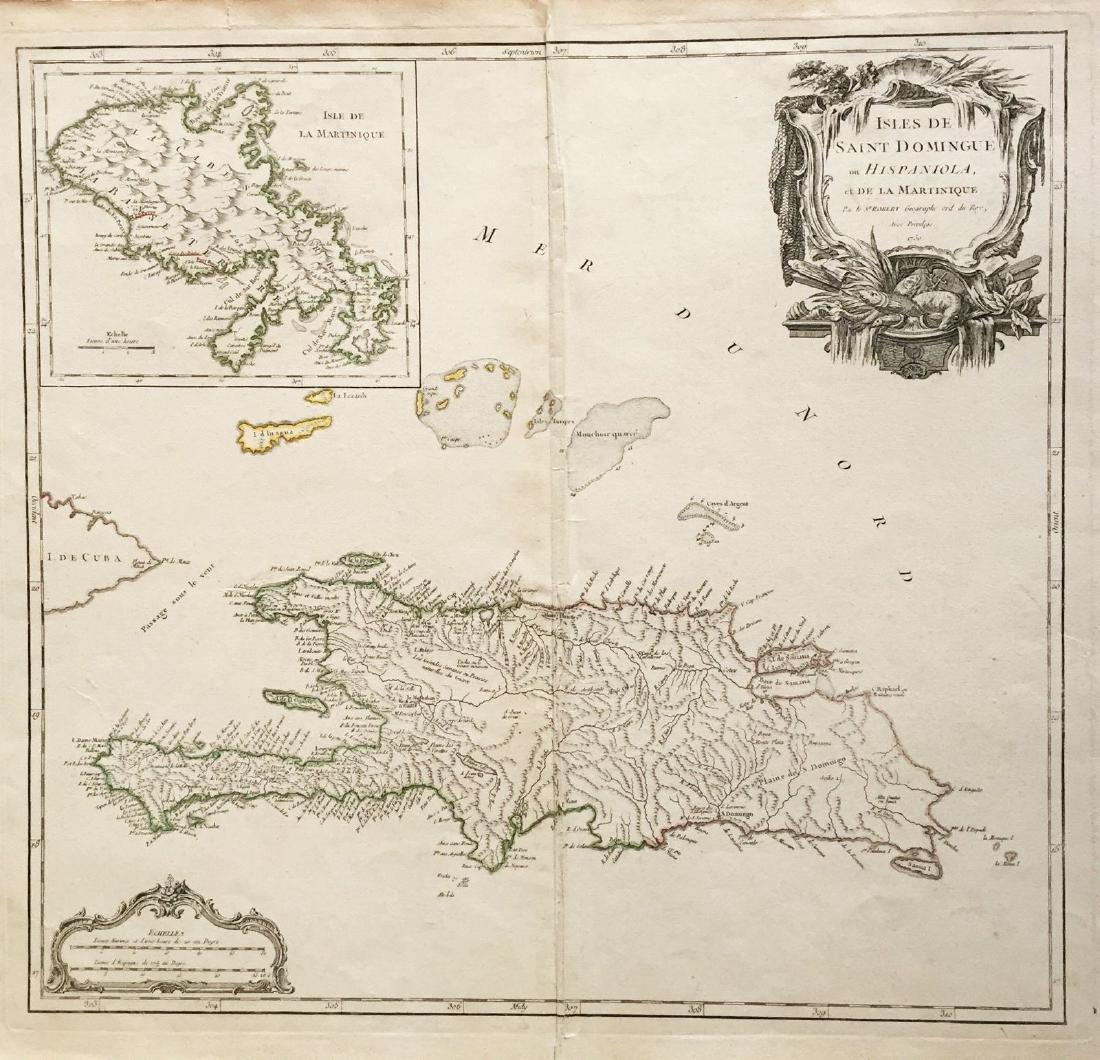 Robert de Vaugondy: Hispaniola with Martinique Inset