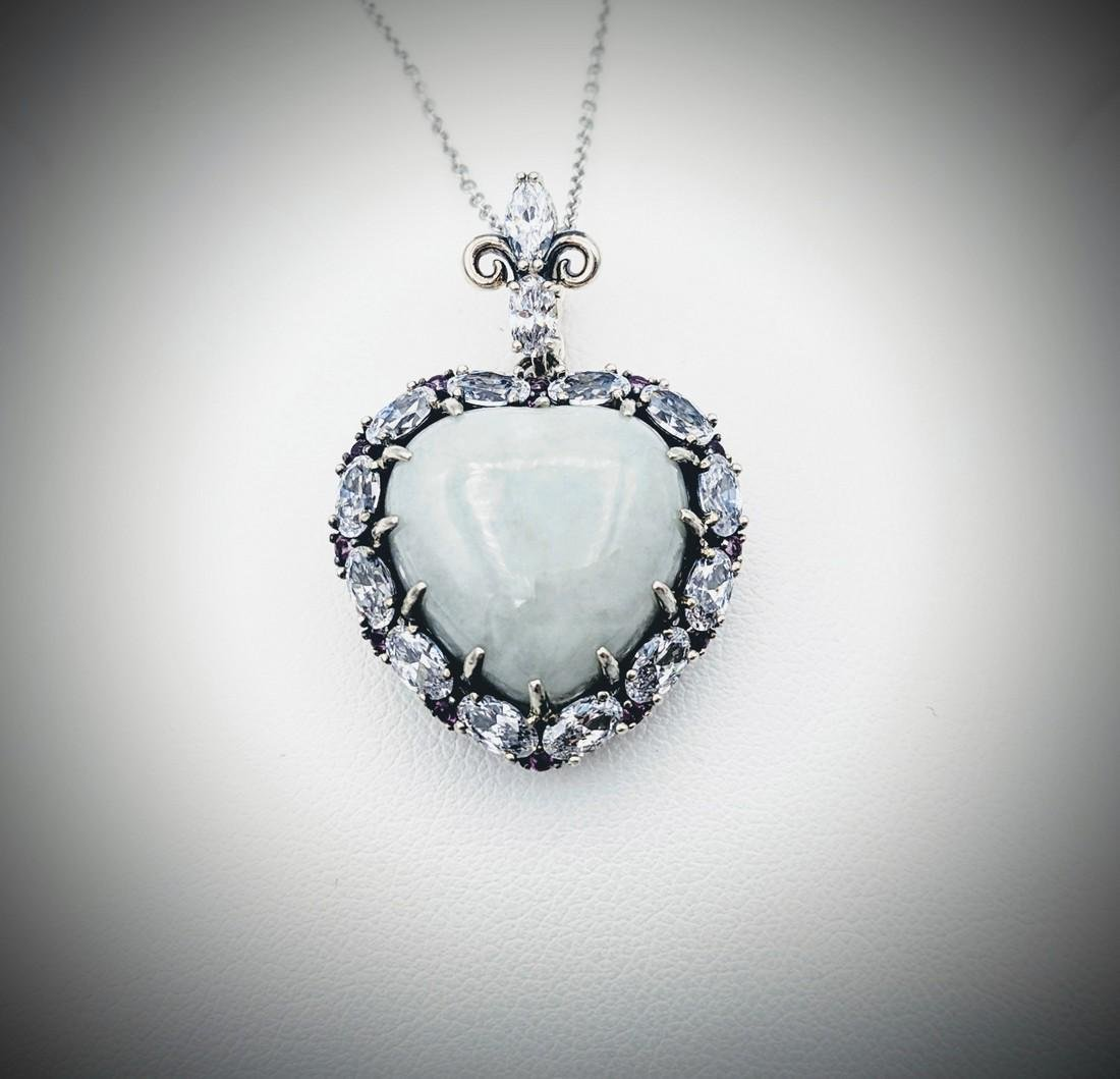 Necklace & Heart Shaped Pendant w Jade, CZs & Amethyst