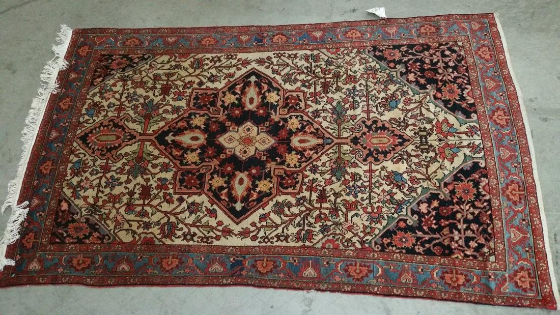 Persian Malayer Wool pile hand knotted on a cotton - 2