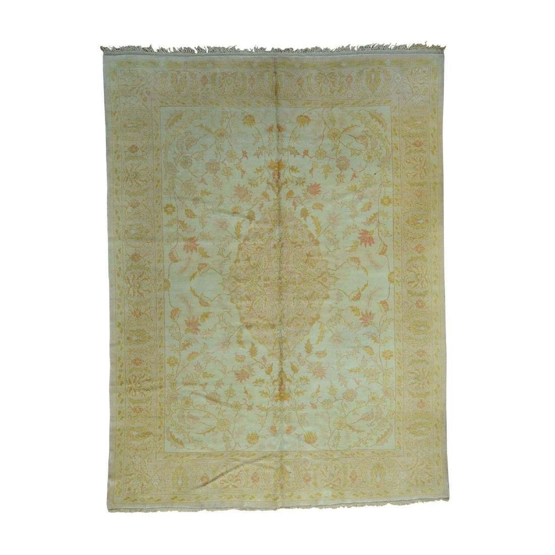 Hand-Knotted Antique Turkish Oushak Soft Colors