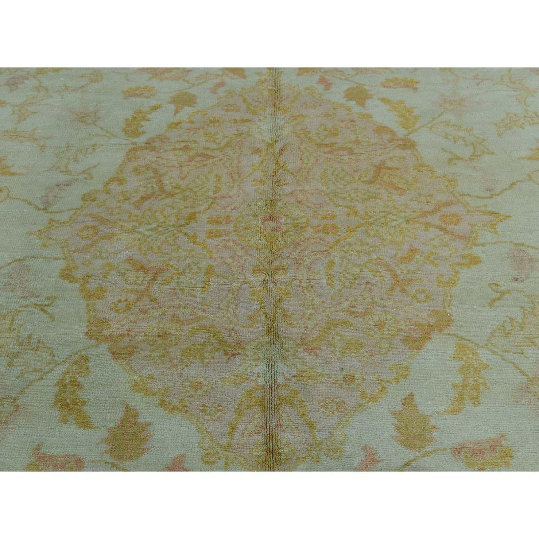 Hand-Knotted Antique Turkish Oushak Soft Colors - 8
